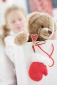 Teddy bear in carrier bag, girl in background
