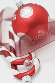 Christmas tree ornaments with ribbon