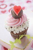 Cupcake for Valentine's Day on chocolate box