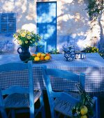 Laid table outside a house in the country (summer)