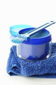 Exfoliating scrub on blue towel