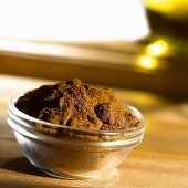 Curry powder in glass dish