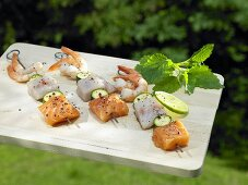 Fish and seafood kebabs for the barbeque