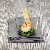 Fried scallops on an algae medley