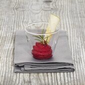 Beetroot mousse with rosemary in a glass