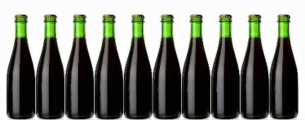 Ten green bottles standing in a row (stout, dark beer)