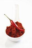 Chilli powder and chilli on spoon
