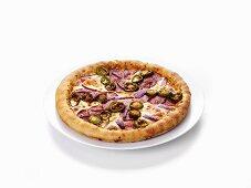 Salami pizza with jalapeños
