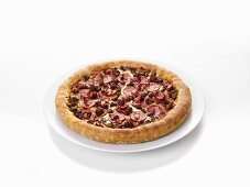 Mince, salami and bacon pizza
