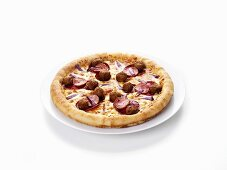 Salami pizza with meatballs