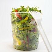 Mixed salad in plastic bin, close-up