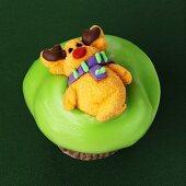 Cupcake with reindeer decoration