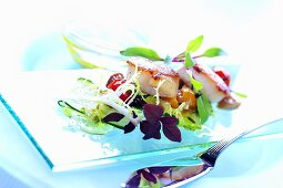 Fried scallops on spring salad