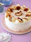 Baked damson and apple foam cake
