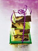 A stack of brownies tied with a bow