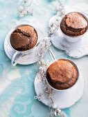 Chocolate mocha cakes baked in cups for Christmas