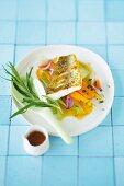 Pickled vegetables with crispy fried Zander fillet, carrots and herbs
