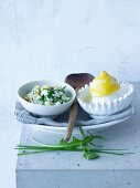 Lemon risotto with pine nuts, rocket, cress and Pecorino cheese