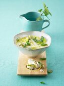 Asparagus and chard soup with sheep's cheese