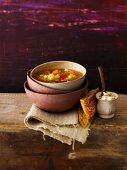 Vegetable soup with cauliflower, sweet potatoes and tomatoes