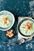 Fennel and cauliflower soup with salmon