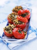 Oven-roasted tomatoes with a herb topping