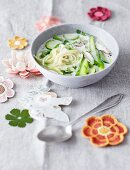 Asparagus soup with noodles and coconut milk