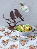 Lentil, asparagus, spinach and turkey salad