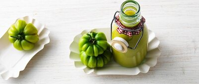 Green tomato ketchup in a flip-top bottle
