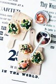 Mini spinach and nut pizzas