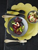 A beetroot medley with pomegranate couscous (Oriental)