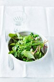 A green vegetable salad with a mint vinaigrette