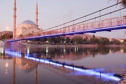 Mosque at Kizilirmak Red River with bridge, Avanos, Anatolia, Turkey
