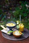 Dip mit roten Linsen, Hummus & weisser Bohnendip