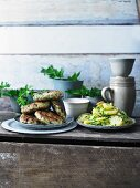 Fish cakes with potato salad