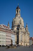 Sacred architecture of Frauenkirche in Neumarkt square, Dresden, Germany