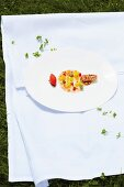 New Zealand langoustine with a passion fruit jelly and inka tomato salad