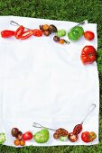 Various tomatoes on a cloth on the grass
