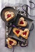 Peanut hearts with redcurrant jelly