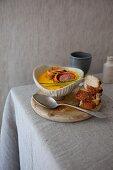 Pumpkin and potato soup with lamb fillet