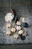 Mocha and walnut stars with icing sugar