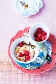 Vanilla semolina with fresh raspberries