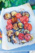 Oven-baked tomatoes and aubergines