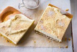 Tray bake peach and cappuccino cake
