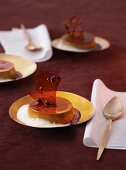 Espresso flan with rum sauce