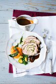 Turkey roulade with mashed sweet potatoes and gravy