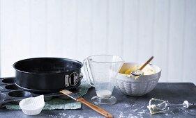 Still life with various baking utensils
