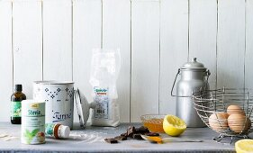 Various baking ingredients and stevia, a natural sweetener