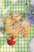 Buttermilk waffles on a garden table