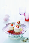 Strawberry mousse in white chocolate cups for Easter